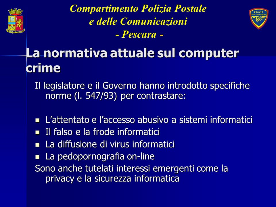 La normativa attuale sul computer crime