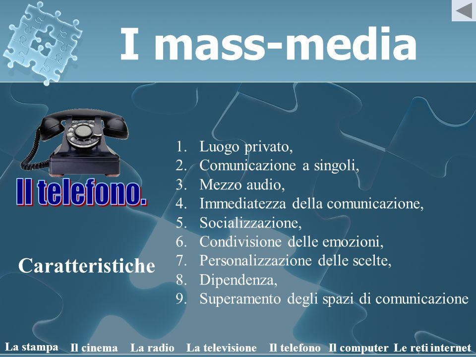 I mass-media Il telefono. Caratteristiche Luogo privato,