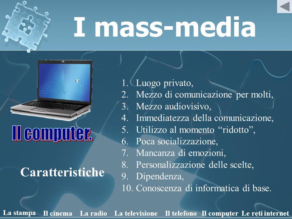 I mass-media Il computer. Caratteristiche Luogo privato,