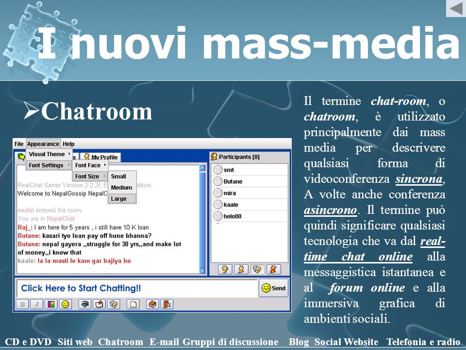 I nuovi mass-media Chatroom