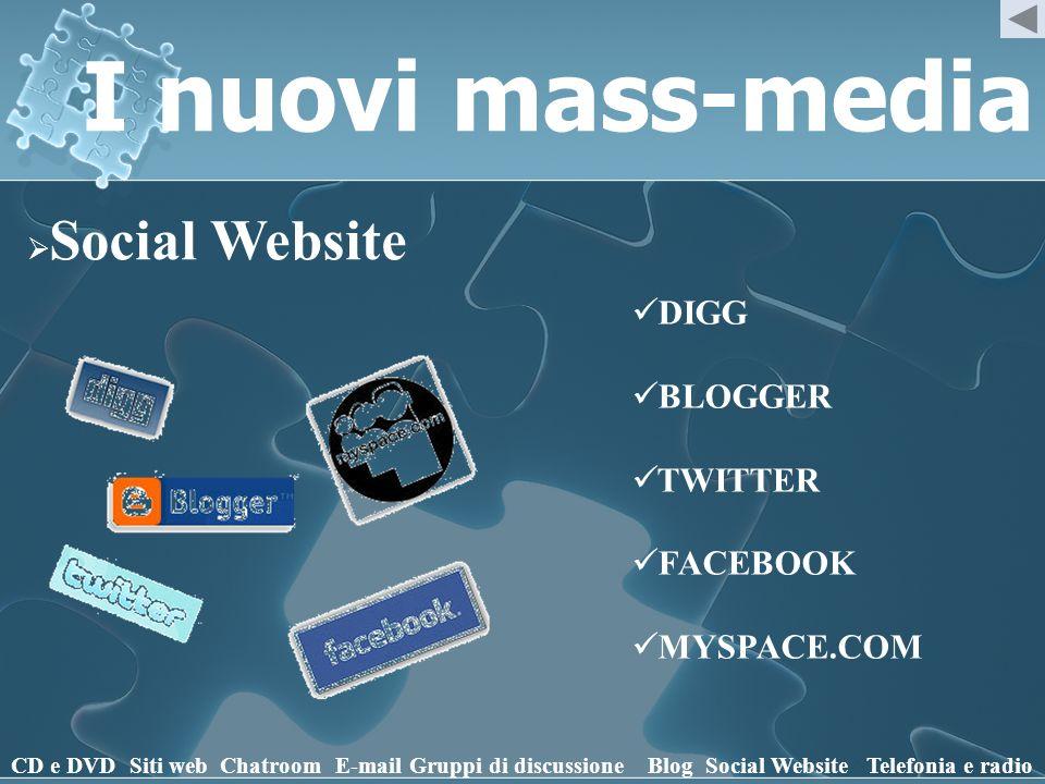 I nuovi mass-media DIGG BLOGGER TWITTER FACEBOOK MYSPACE.COM