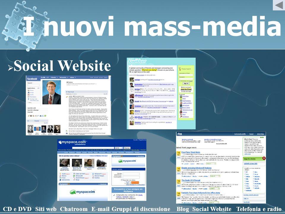 I nuovi mass-media Social Website CD e DVD Siti web Chatroom E-mail