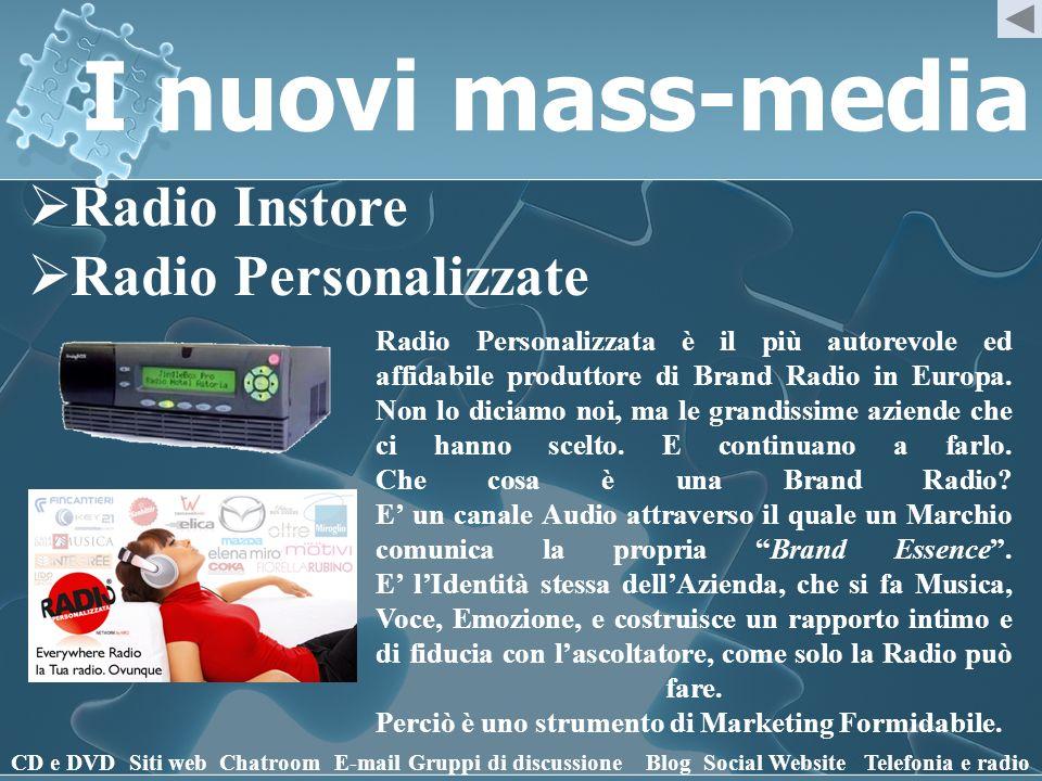 I nuovi mass-media Radio Instore Radio Personalizzate