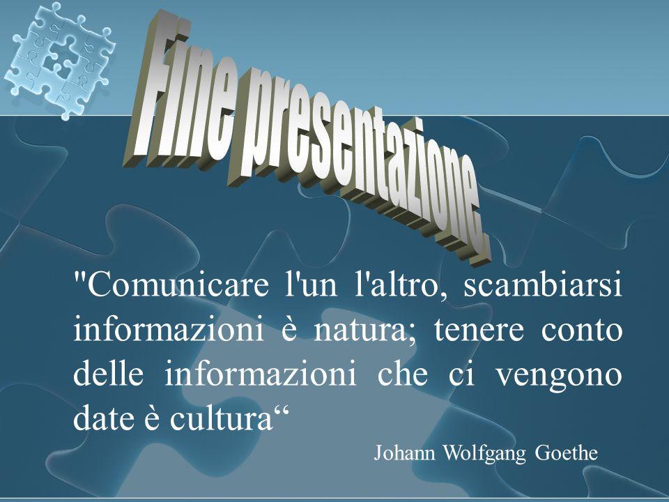 Fine presentazione. Comunicare l un l altro, scambiarsi informazioni è natura; tenere conto delle informazioni che ci vengono date è cultura