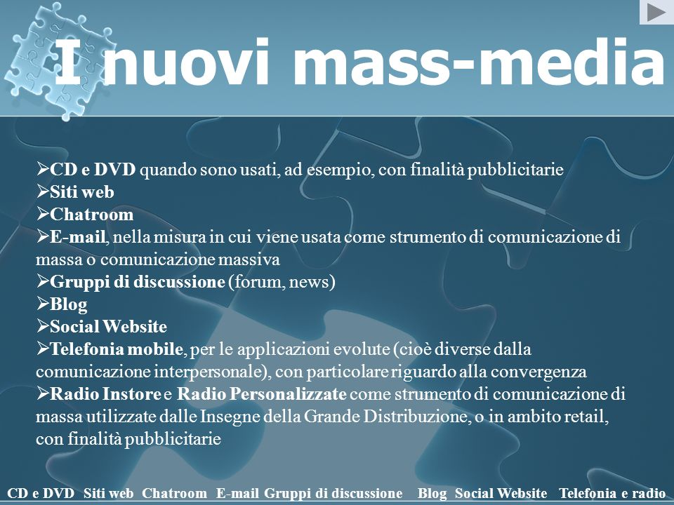 I nuovi mass-media CD e DVD quando sono usati, ad esempio, con finalità pubblicitarie. Siti web. Chatroom.