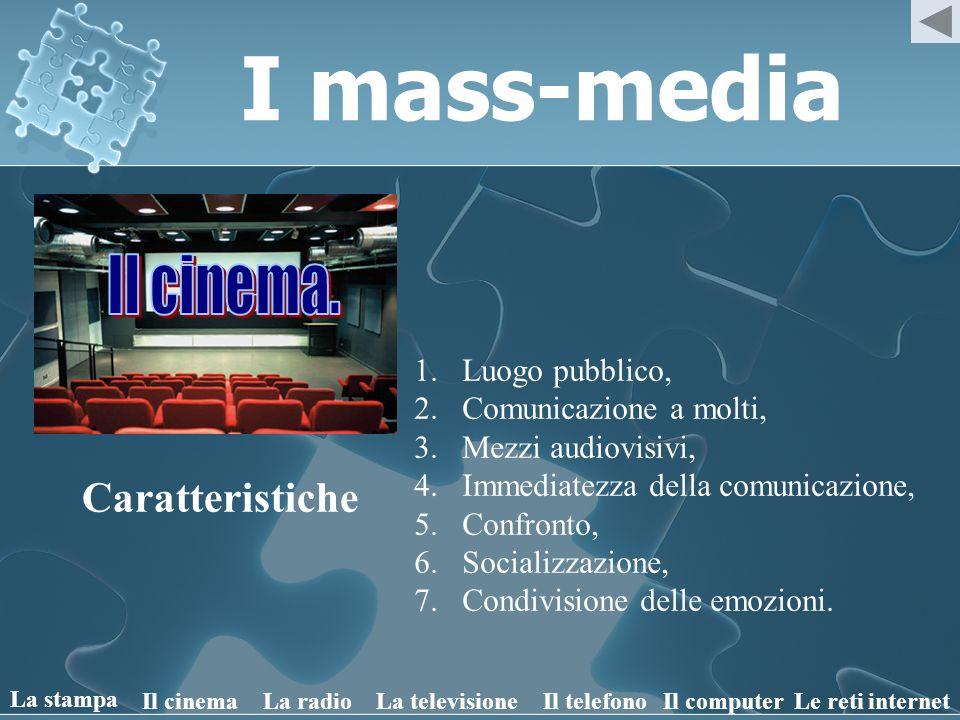 I mass-media Il cinema. Caratteristiche Luogo pubblico,