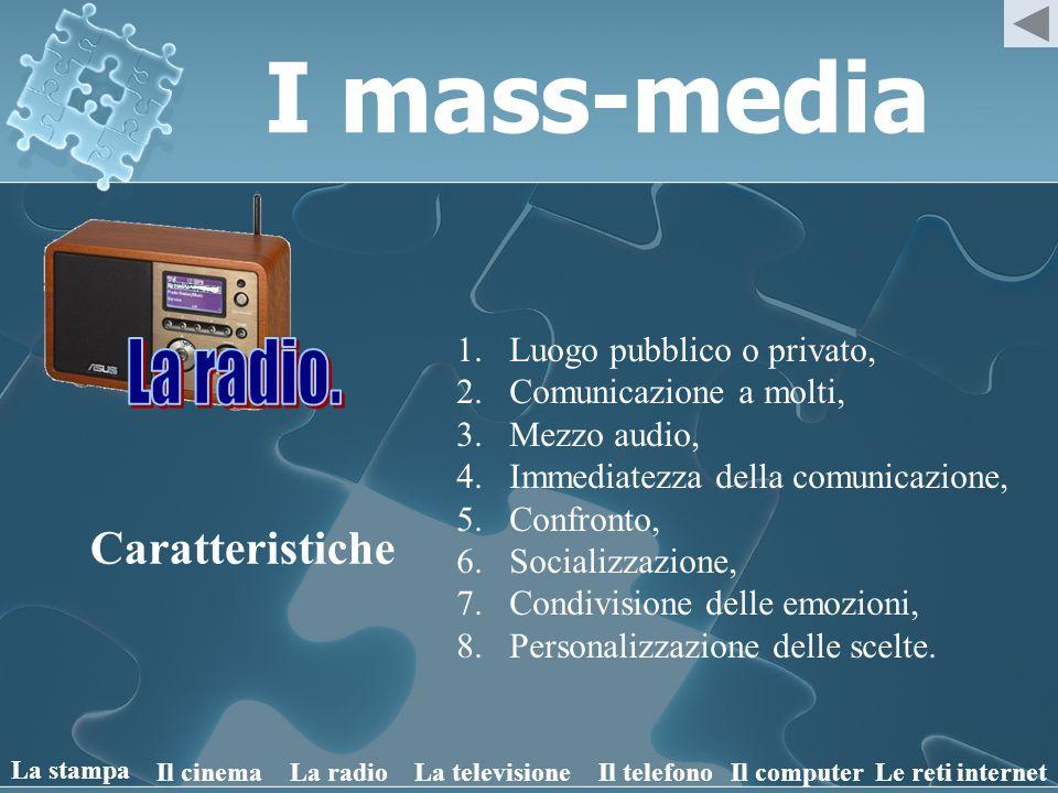 I mass-media La radio. Caratteristiche Luogo pubblico o privato,