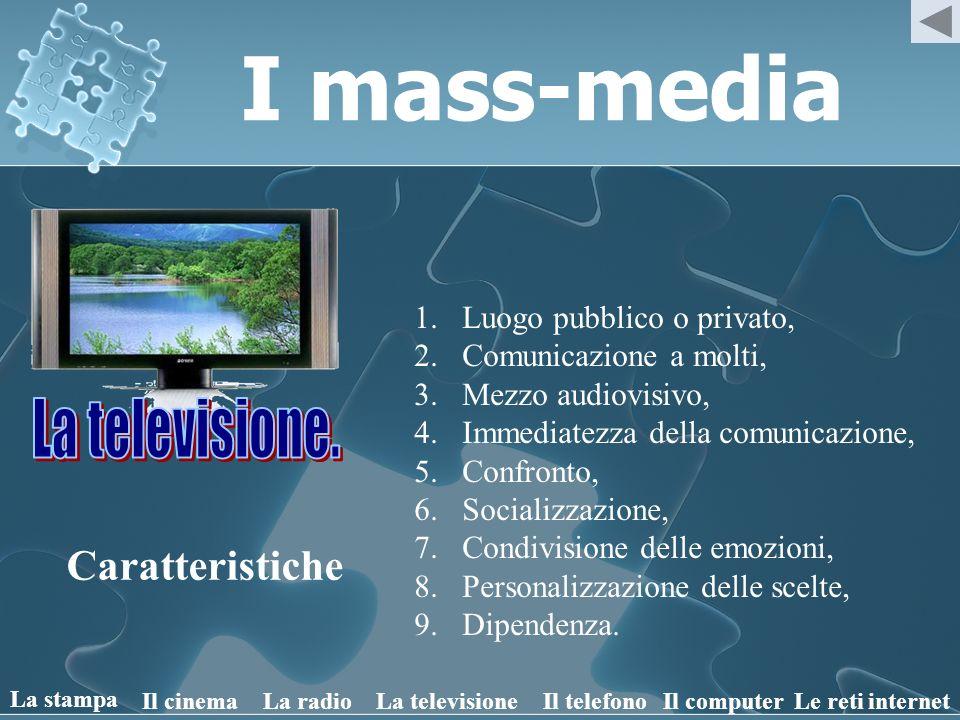 I mass-media La televisione. Caratteristiche Luogo pubblico o privato,