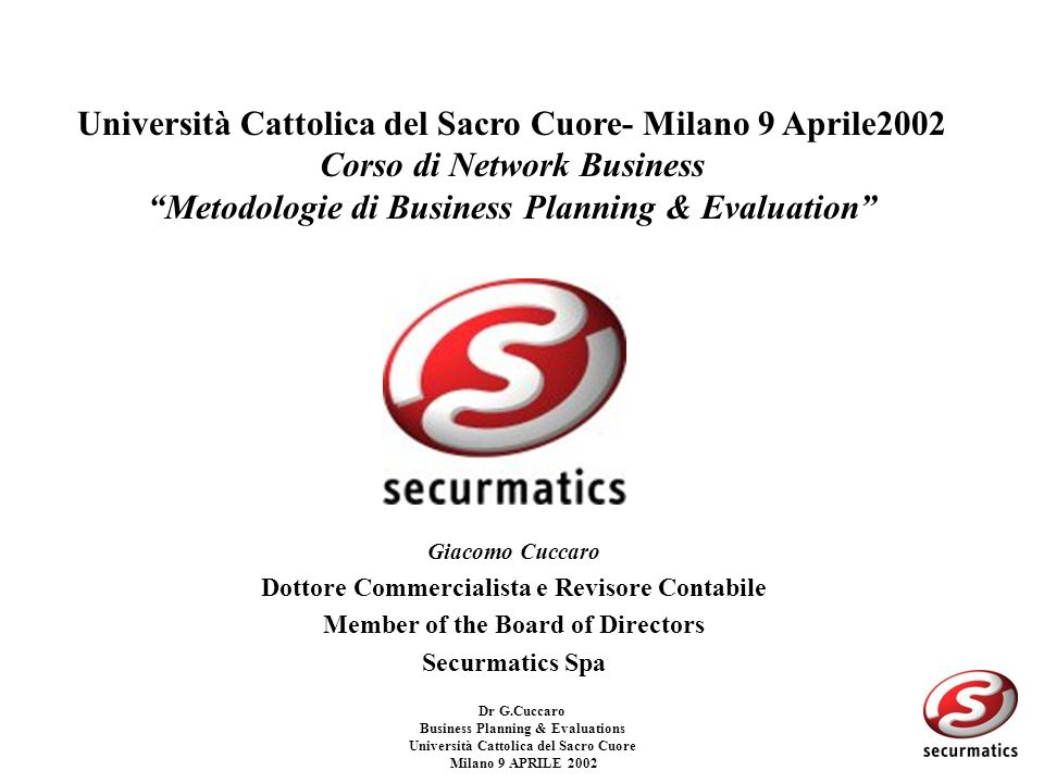 Università Cattolica del Sacro Cuore- Milano 9 Aprile2002