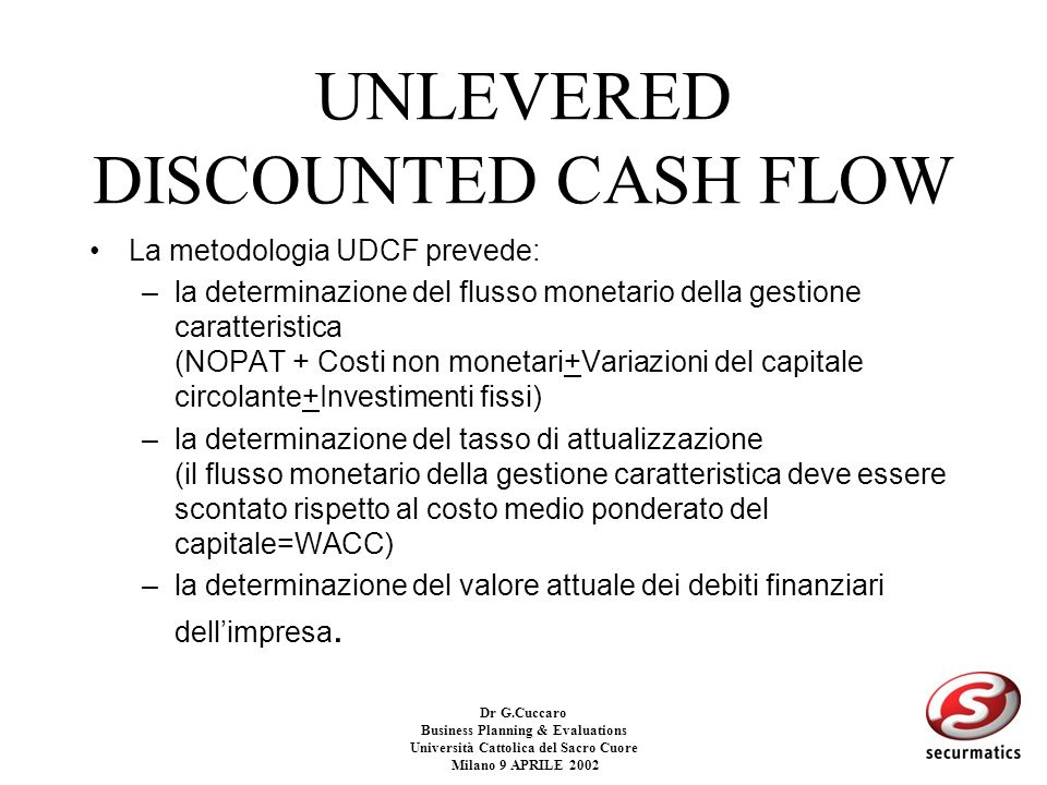 UNLEVERED DISCOUNTED CASH FLOW