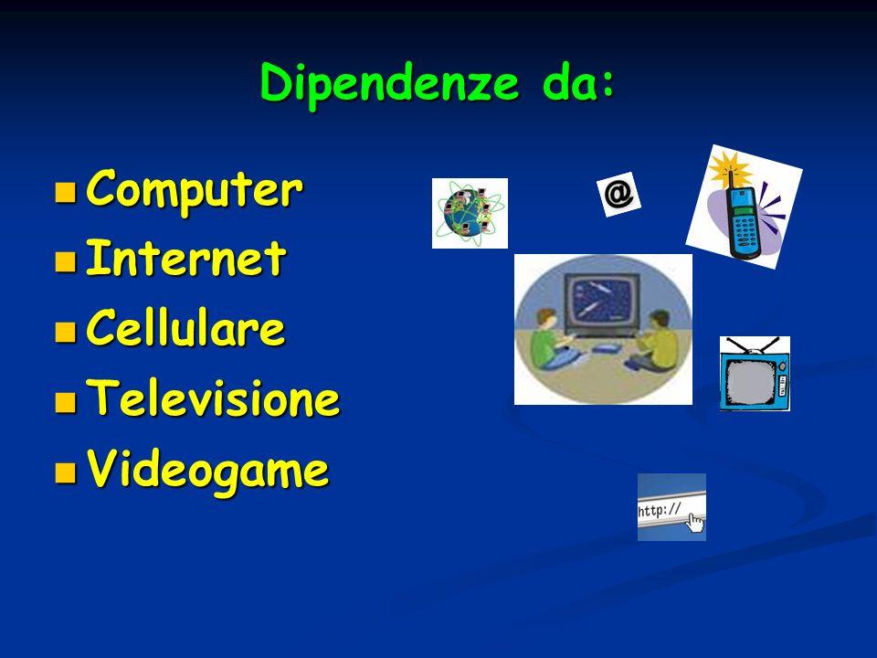 Dipendenze da: Computer Internet Cellulare Televisione Videogame