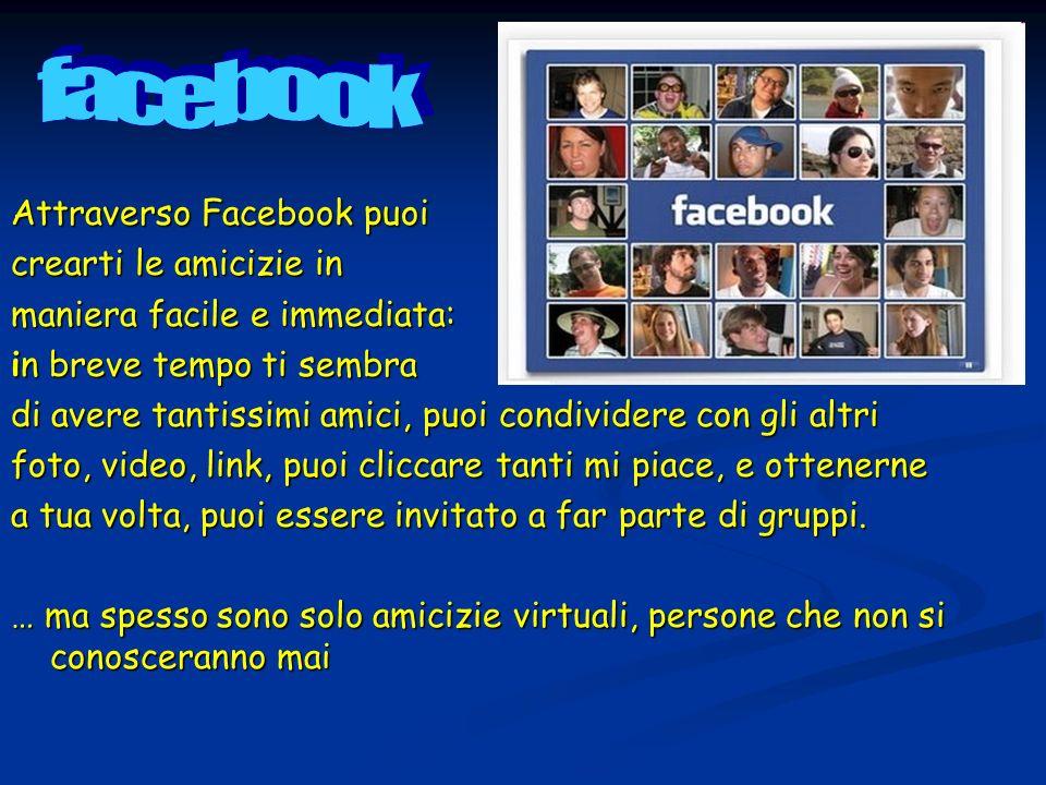 facebook Attraverso Facebook puoi crearti le amicizie in