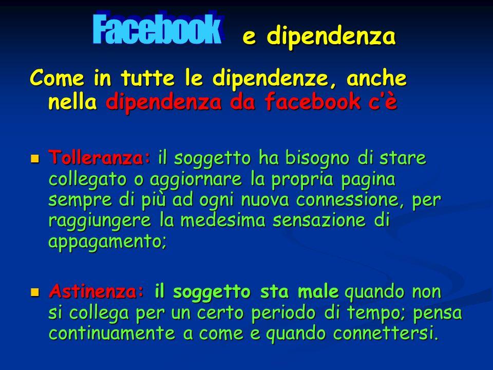 Facebook e dipendenza Come in tutte le dipendenze, anche nella dipendenza da facebook c'è.