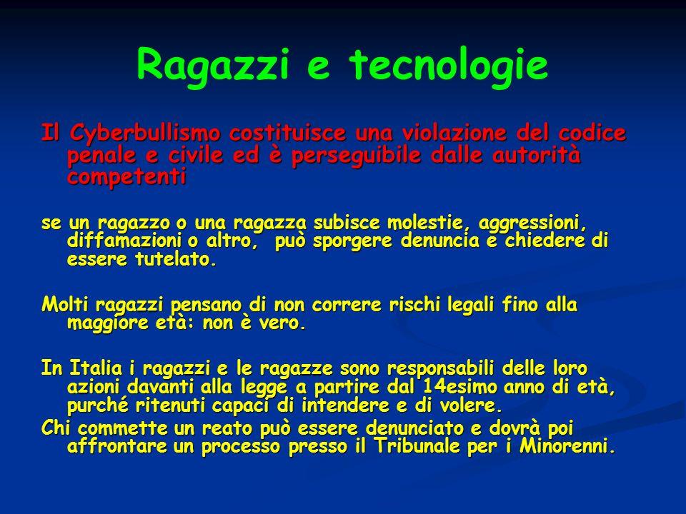 Ragazzi e tecnologie Il Cyberbullismo costituisce una violazione del codice penale e civile ed è perseguibile dalle autorità competenti.