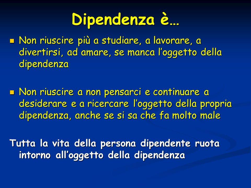 Dipendenza è… Non riuscire più a studiare, a lavorare, a divertirsi, ad amare, se manca l'oggetto della dipendenza.