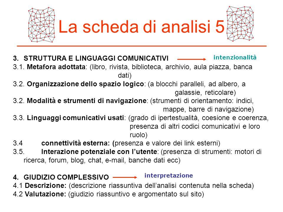 La scheda di analisi 5 3. STRUTTURA E LINGUAGGI COMUNICATIVI