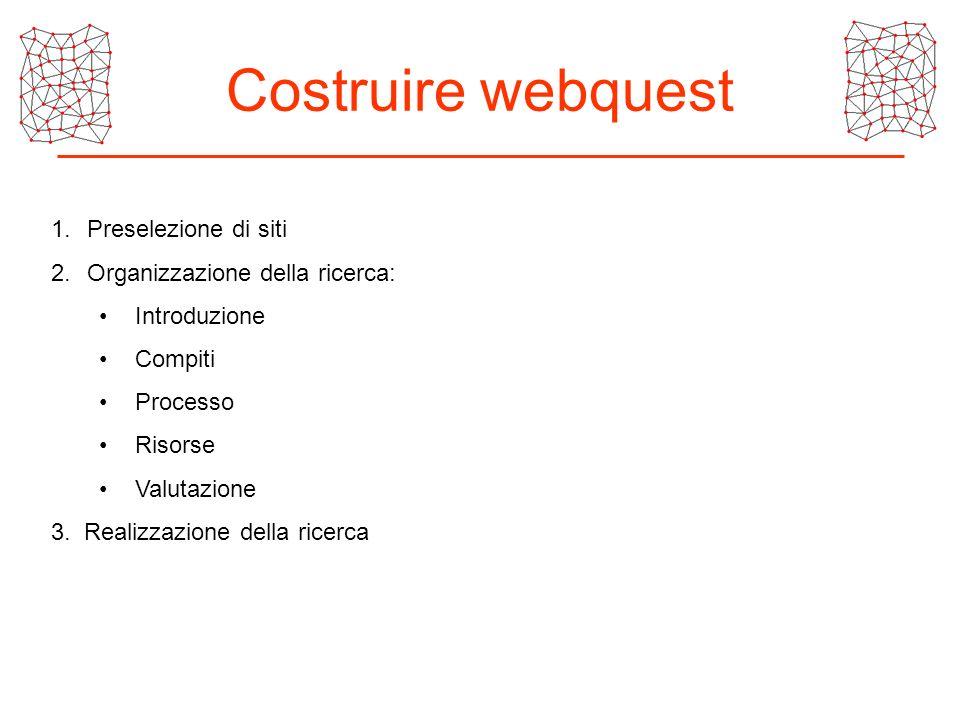 Costruire webquest Preselezione di siti Organizzazione della ricerca: