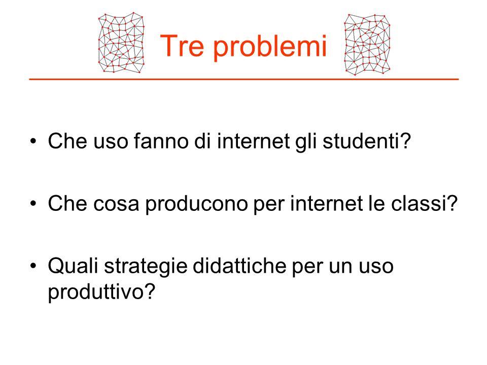 Tre problemi Che uso fanno di internet gli studenti