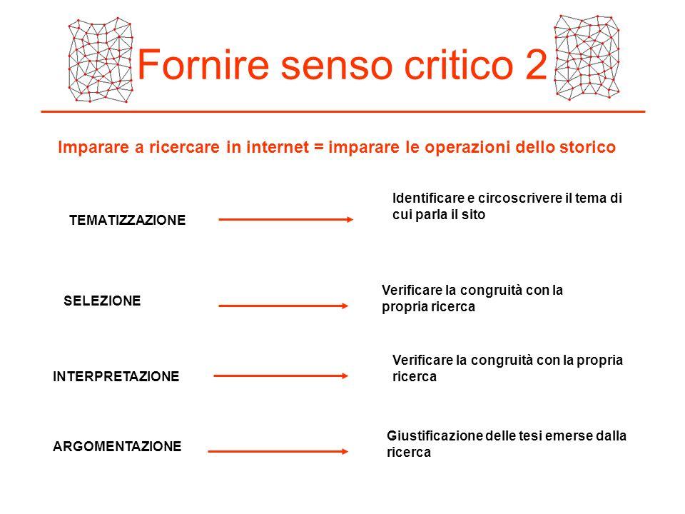 Fornire senso critico 2 Imparare a ricercare in internet = imparare le operazioni dello storico.