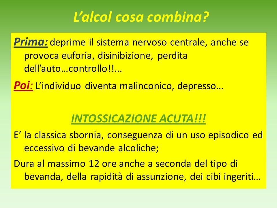 L'alcol cosa combina Prima: deprime il sistema nervoso centrale, anche se provoca euforia, disinibizione, perdita dell'auto…controllo!!...
