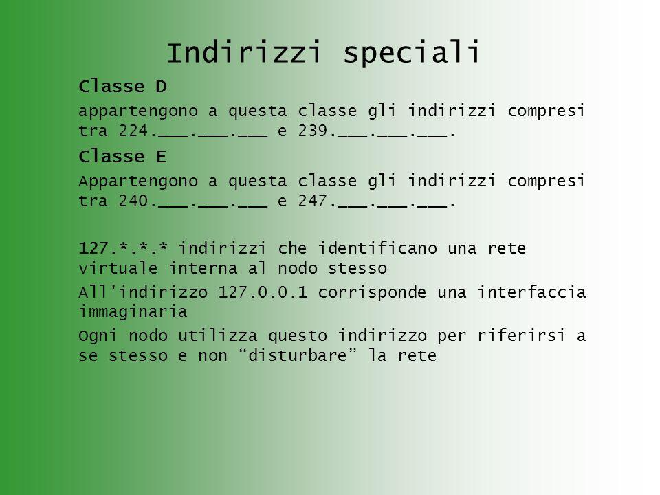 Indirizzi speciali Classe D Classe E