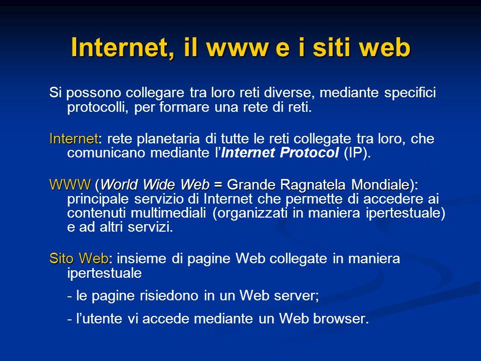 Internet, il www e i siti web