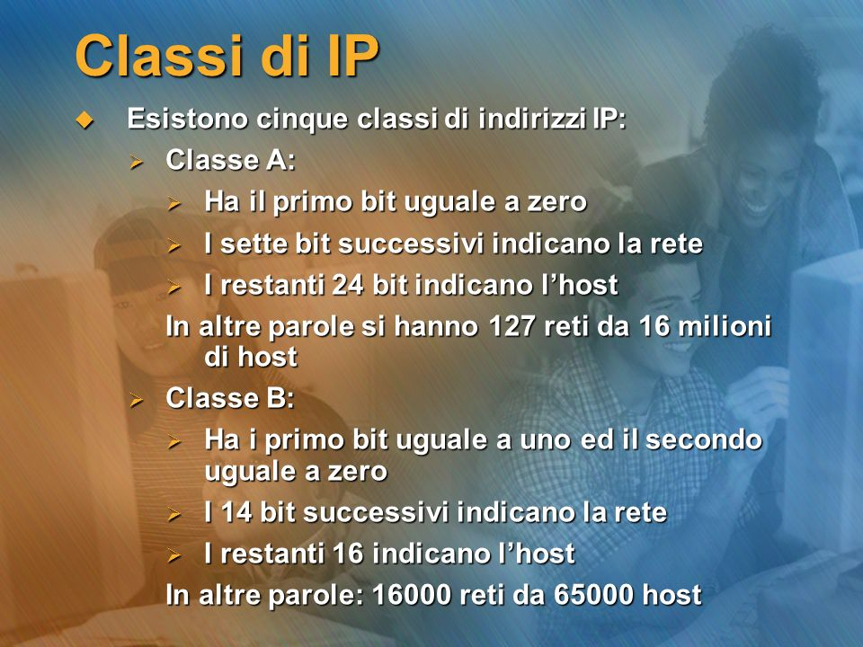 Classi di IP Esistono cinque classi di indirizzi IP: Classe A: