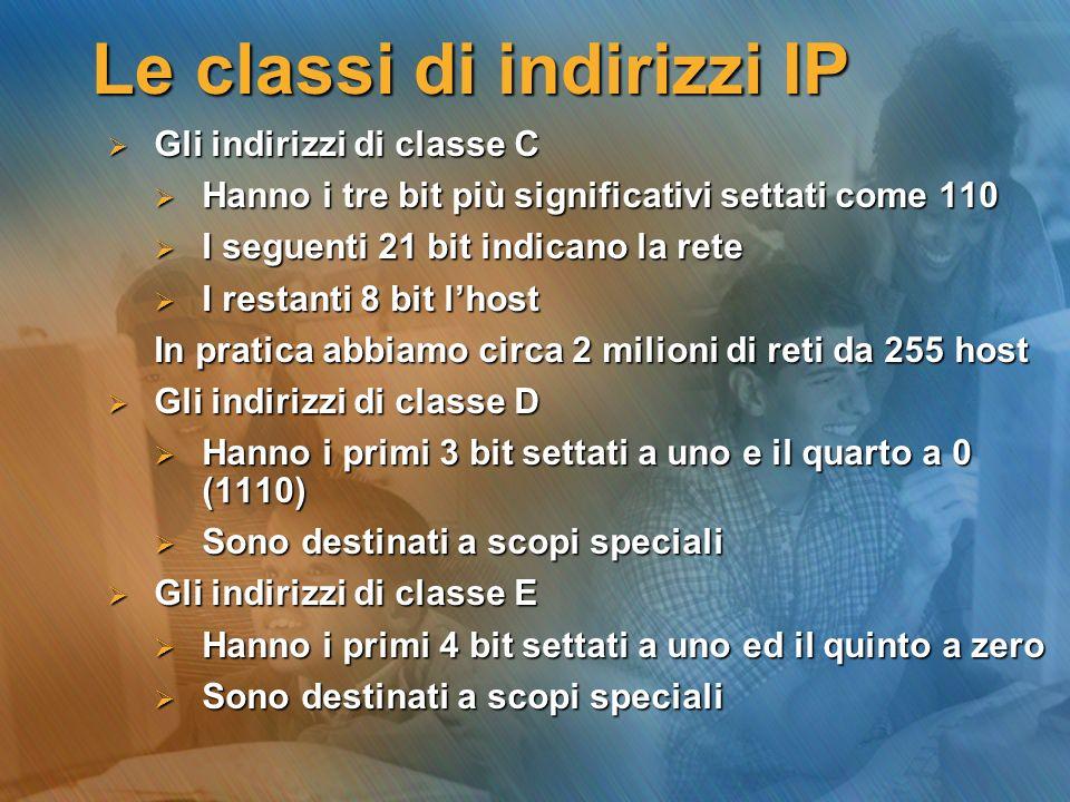 Le classi di indirizzi IP