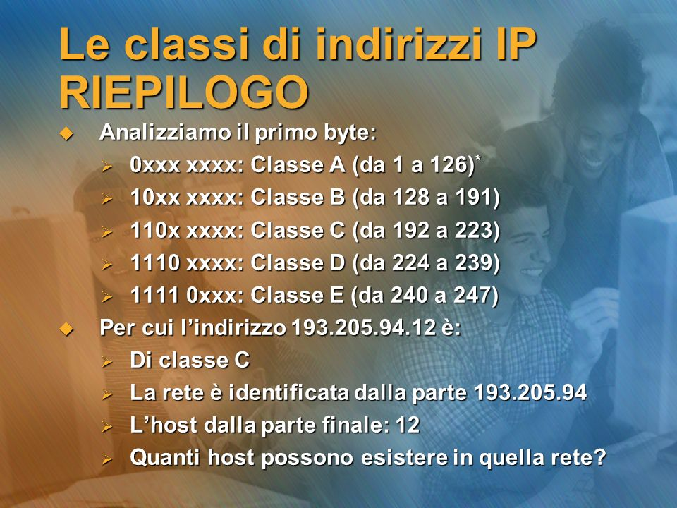 Le classi di indirizzi IP RIEPILOGO