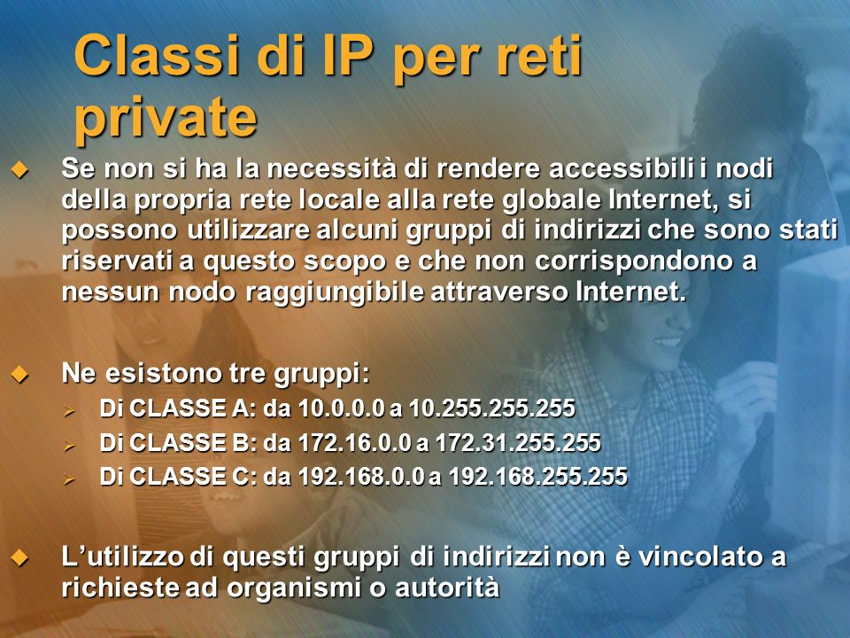 Classi di IP per reti private