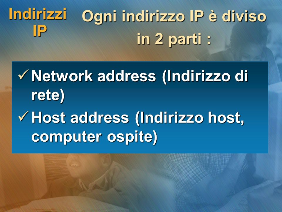 Ogni indirizzo IP è diviso
