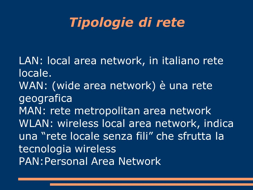 Tipologie di rete LAN: local area network, in italiano rete locale.