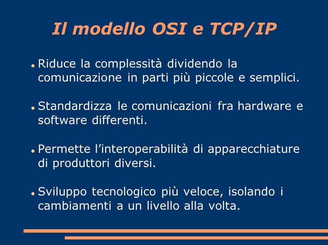 Il modello OSI e TCP/IP Riduce la complessità dividendo la comunicazione in parti più piccole e semplici.