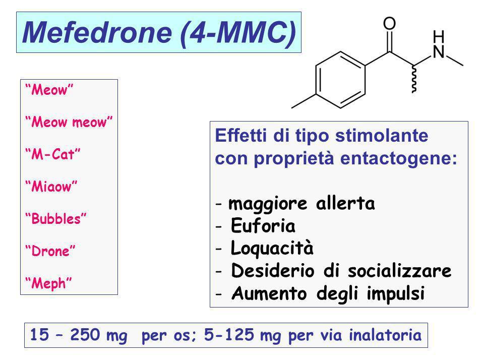 Mefedrone (4-MMC) Meow Meow meow M-Cat Miaow Bubbles Drone Meph Effetti di tipo stimolante con proprietà entactogene: