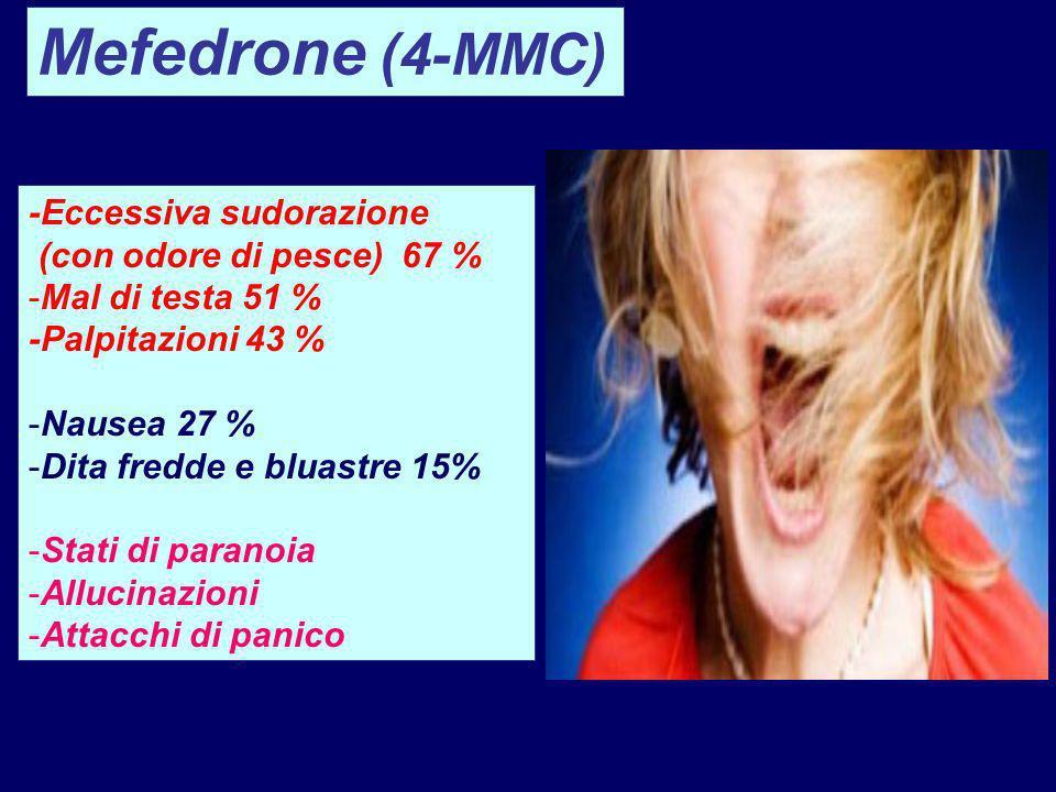 Mefedrone (4-MMC) -Eccessiva sudorazione (con odore di pesce) 67 %