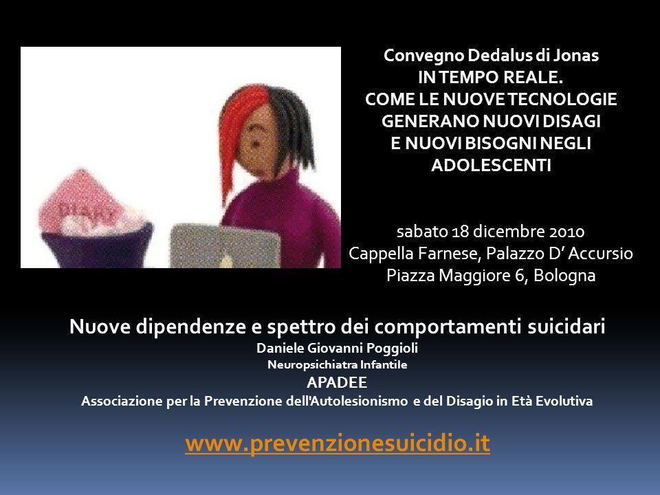 Nuove dipendenze e spettro dei comportamenti suicidari