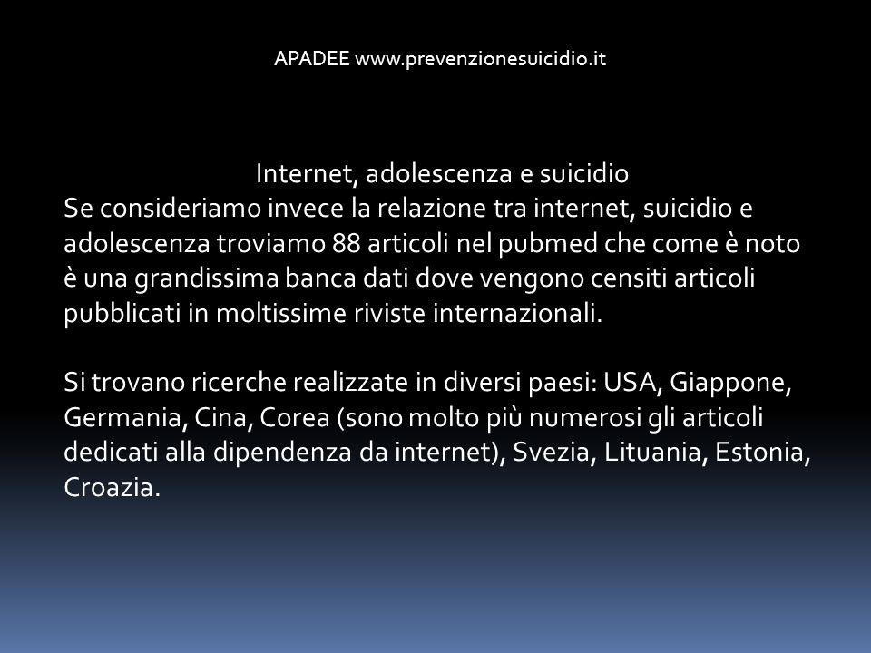 Internet, adolescenza e suicidio