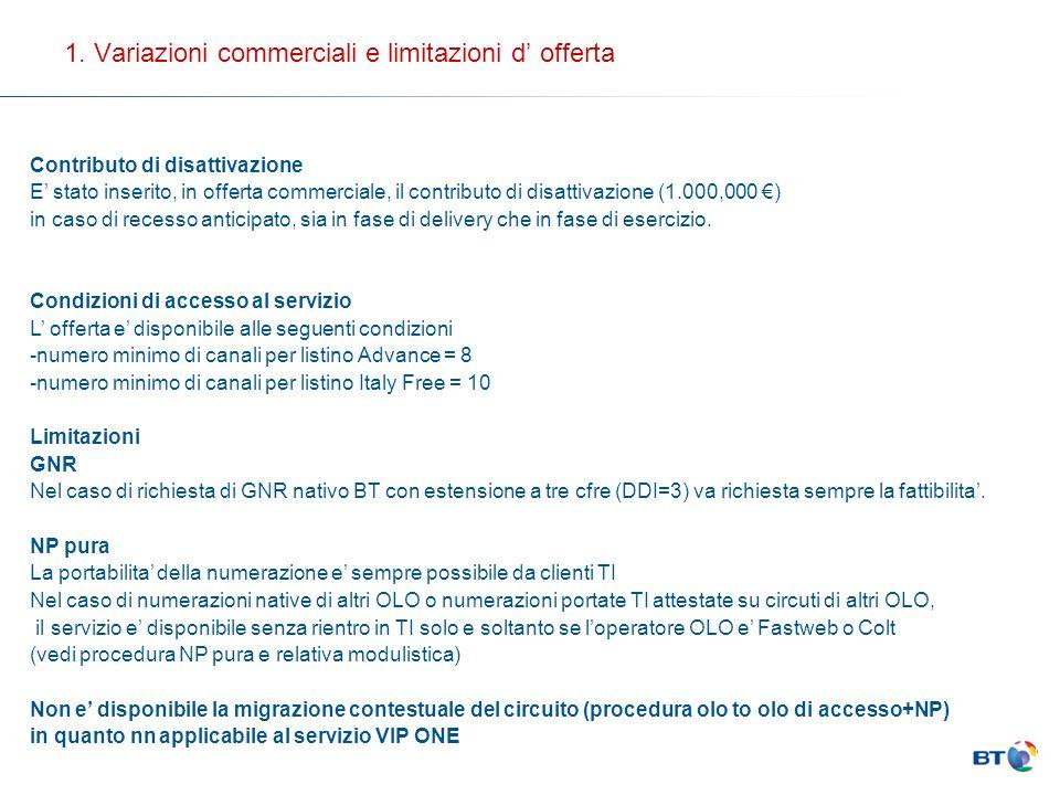 1. Variazioni commerciali e limitazioni d' offerta