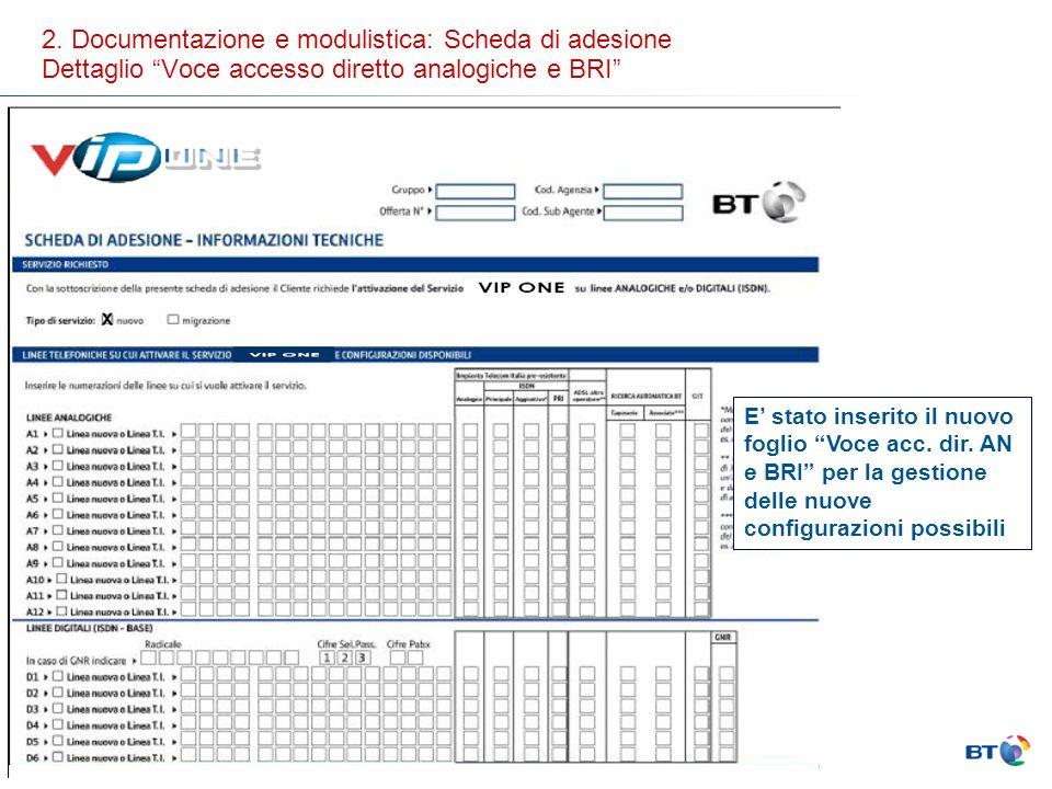 2. Documentazione e modulistica: Scheda di adesione Dettaglio Voce accesso diretto analogiche e BRI