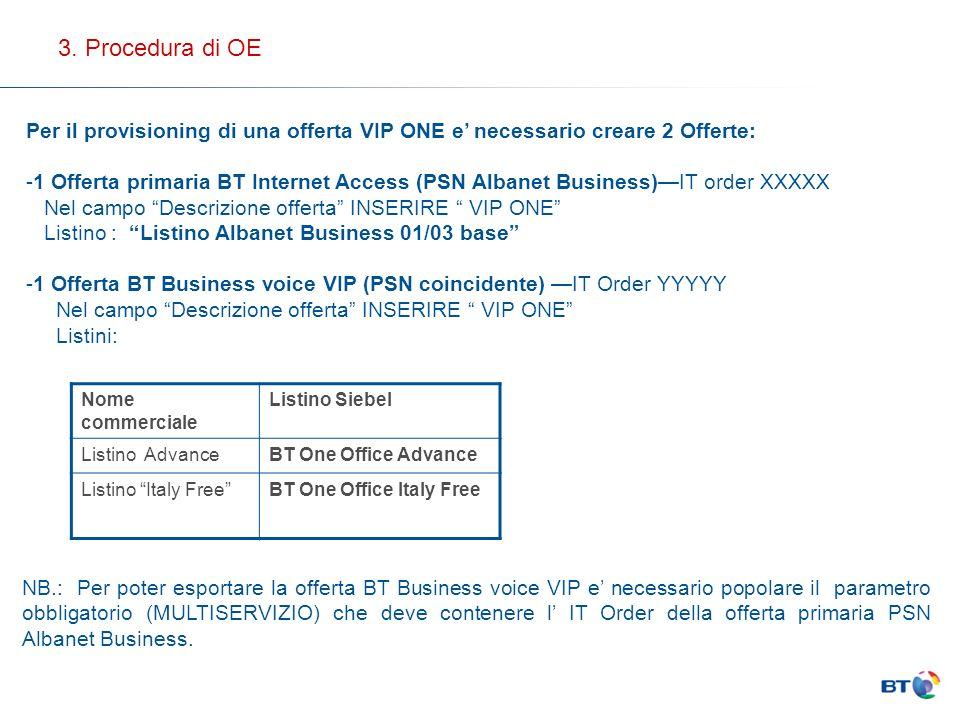 3. Procedura di OE Per il provisioning di una offerta VIP ONE e' necessario creare 2 Offerte: