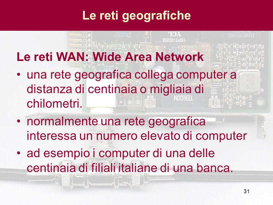 Le reti geografiche Le reti WAN: Wide Area Network. una rete geografica collega computer a distanza di centinaia o migliaia di chilometri.