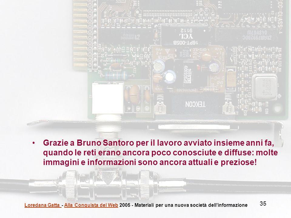 Grazie a Bruno Santoro per il lavoro avviato insieme anni fa, quando le reti erano ancora poco conosciute e diffuse: molte immagini e informazioni sono ancora attuali e preziose!