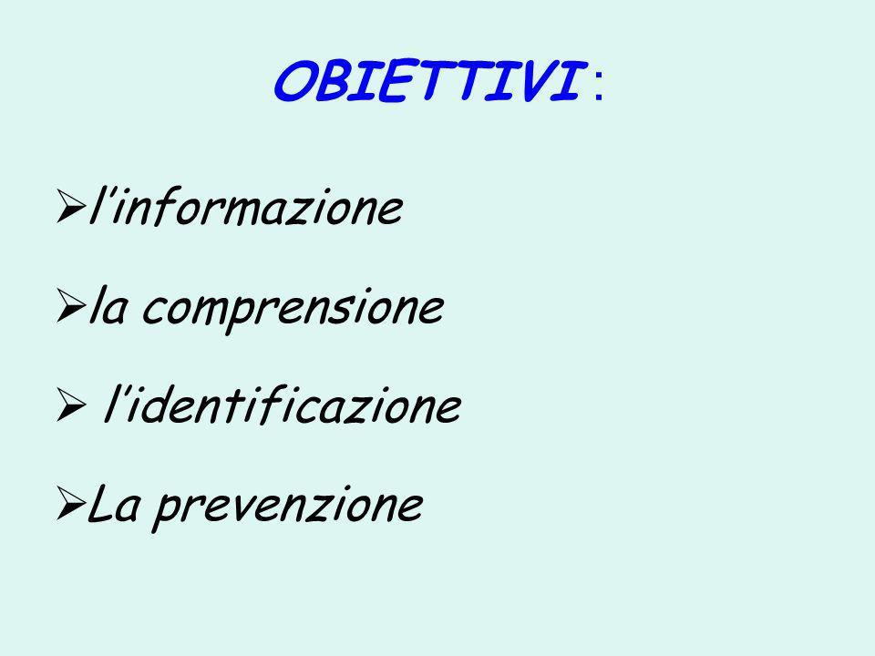 OBIETTIVI : l'informazione la comprensione l'identificazione