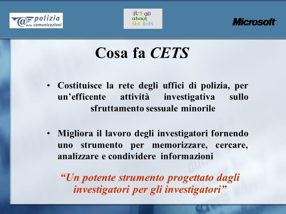 Cosa fa CETS Costituisce la rete degli uffici di polizia, per un'efficente attività investigativa sullo sfruttamento sessuale minorile.