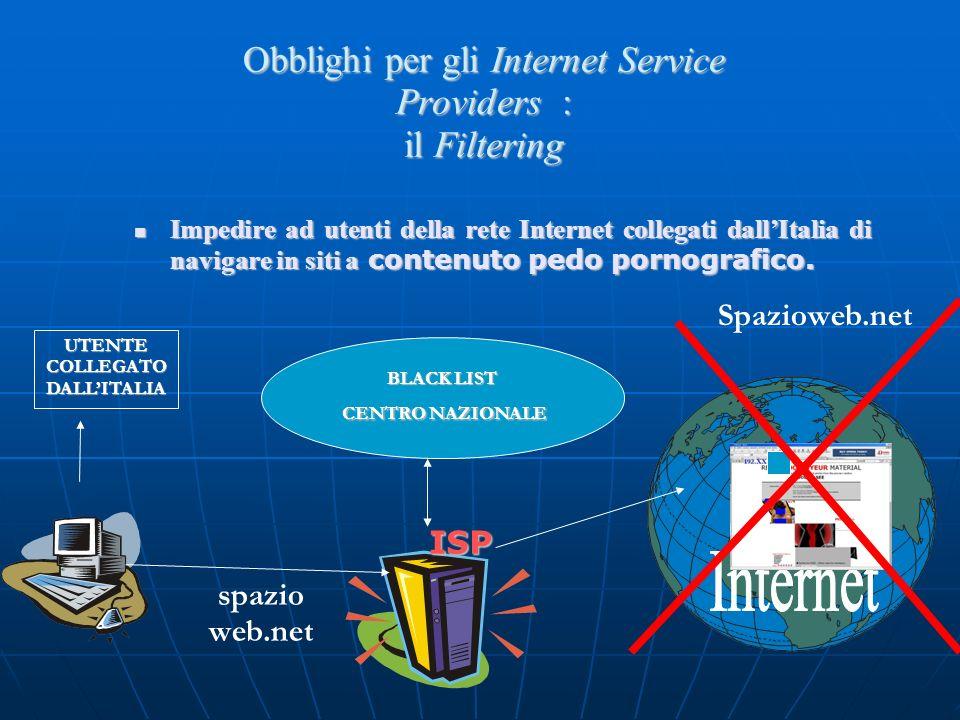 Obblighi per gli Internet Service Providers : il Filtering
