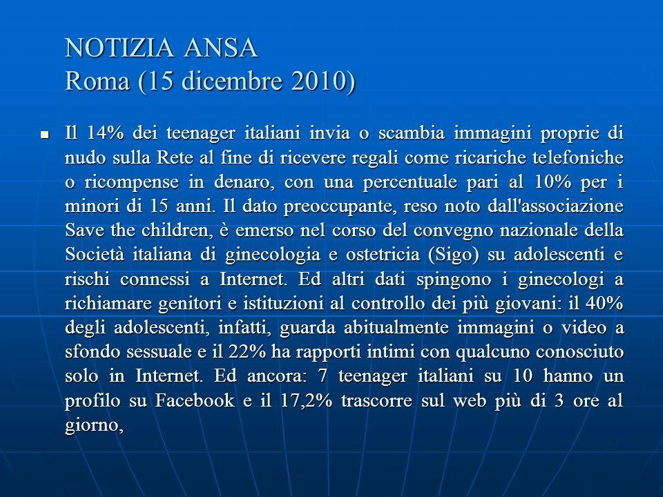 NOTIZIA ANSA Roma (15 dicembre 2010)