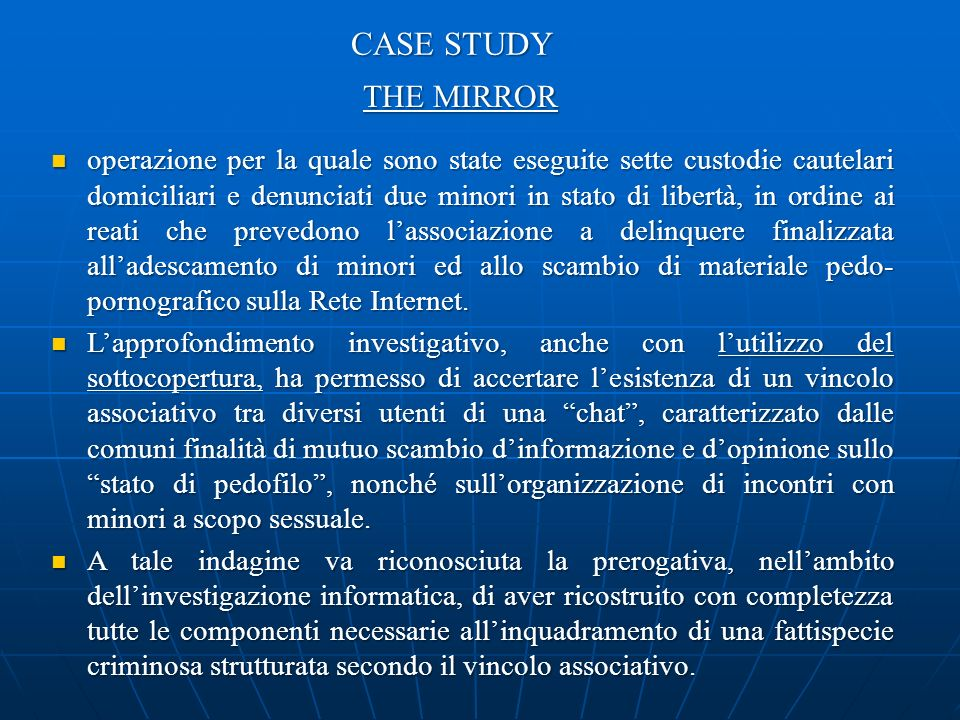 CASE STUDY THE MIRROR.