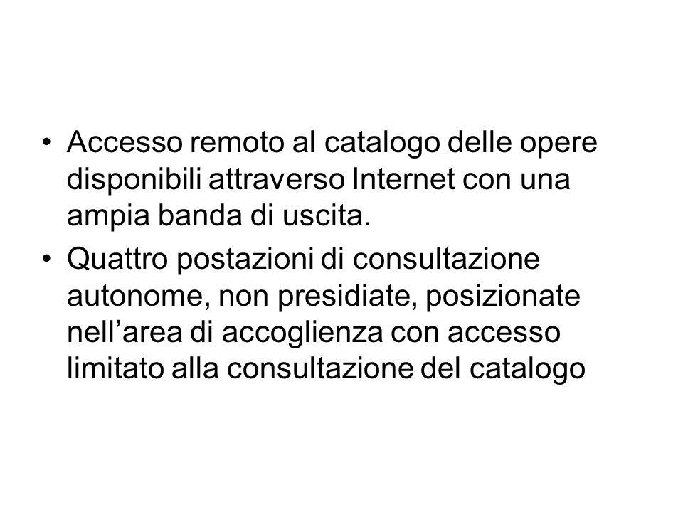 Accesso remoto al catalogo delle opere disponibili attraverso Internet con una ampia banda di uscita.