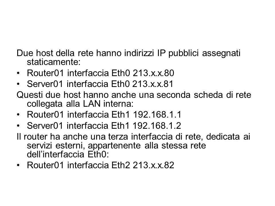 Due host della rete hanno indirizzi IP pubblici assegnati staticamente: