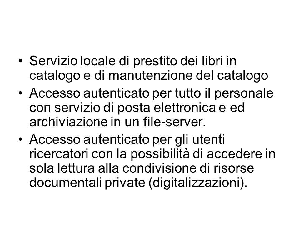 Servizio locale di prestito dei libri in catalogo e di manutenzione del catalogo